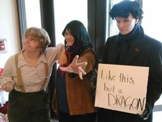 """This is a great costume // Bilbo, Merlin, and Sherlock as a """"dragon"""""""