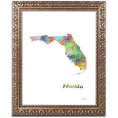Trademark Fine Art Florida State Map-1 inch Canvas Art by Marlene Watson, Gold Ornate Frame, Size: 16 x 20