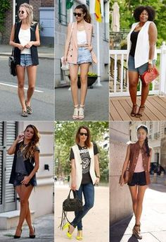 Khaki Shorts Outfit, Vest Outfits, Short Outfits, Summer Outfits, Casual Outfits, Cute Outfits, Look Fashion, Fashion Outfits, Womens Fashion