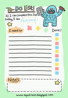 Cute to-do list printable