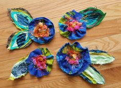 Handmade fabric flowers, unique colorful embellishments, artsy recycled textile scraps
