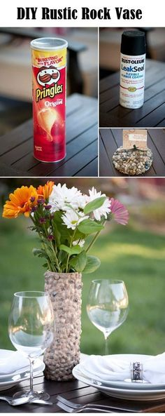 A Little Fun For The Mama As Well As The Kiddos. Let Them Eat The Pringles And You Get A Beautiful Vase Out Of It! Diy Rustic Rock Vase.