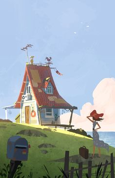 I was looking with this one to capture a beautiful atmosphere on the seaside :)Blue sky, shiny colors, the wind… ^_^I hadn't painted a house since Home Sweet Home, it feels so good! Cartoon Background, Animation Background, Art Background, Art And Illustration, Illustrations And Posters, Graffiti Kunst, Environment Concept Art, Environment Design, Environmental Art