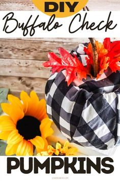 Buffalo check fall decor DIY. How to make DIY buffalo check pumpkins. These easy DIY buffalo check pumpkins look great in groups for fall porch decor, or a shelf, mantel or as a fall table centerpiece in your home. Craft this black and white buffalo check pumpkin decor to decorate your home for autumn. This easy craft for adults is an affordable fall decor idea for the home. This pumpkin inspired fall decor idea for the home is an easy fall craft for adults made using a Dollar Tree supplies.