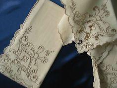 Vintage Linen Dinner Napkins Italian Cutwork Lace Embroidery Set of 8 | eBay