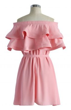 Darling Ruffled Off-shoulder Dress in Candy Pink - Dress - Retro, Indie and Unique Fashion