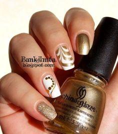 White and Gold Nails Get Nails, Fancy Nails, Hair And Nails, Nail Polish Designs, Nail Art Designs, Gorgeous Nails, Pretty Nails, French Nails Glitter, Gold Nail