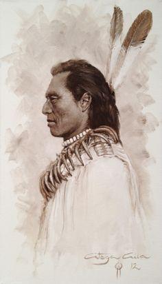 """Sioux Portrait  """"oil on canvas"""" 27 x 46 cm.  www.ortegaavila.com"""