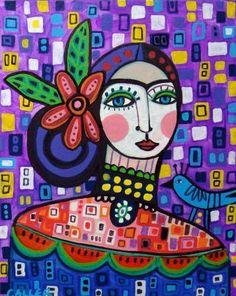 Mexican Folk Art Folk Art Frida Kahlo Print by HeatherGallerArt