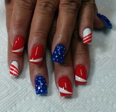 All American, red, white and blue! Striping brush and silver stars on polish