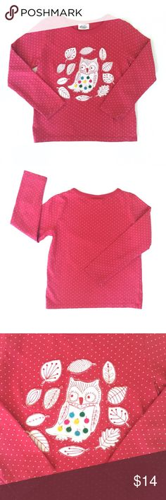 Mini Boden Owl Appliqué Red T-Shirt 4-5Y Red with tiny white dots. In really good condition. Perfect for fall and winter. Soft and cozy and 100% cotton. Mini Boden Shirts & Tops Tees - Long Sleeve
