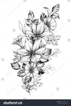 Hand Drawn Bouquet Flowers Isolated On stockillustratie 1449795677 Birth Flower Tattoos, Flower Tattoo Drawings, Tattoo Design Drawings, Tattoo Sleeve Designs, Tattoo Sketches, Sleeve Tattoos, Tatoo Floral, Floral Tattoo Design, Flower Tattoo Designs