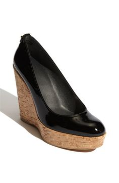"Stuart Weitzman 'Corkswoon' Wedge in black patent leather, also in white leather. 4 1/2"" heel & 1 1/4"" platform. $375.00"
