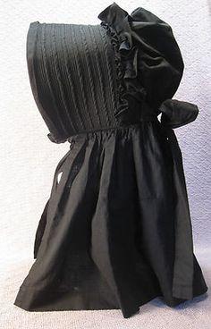 Antique-BLACK-SUN-BONNET-HAT-Mourning-Long-Neck-Cover-4-Ties