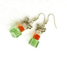 Christmas Gifts Earrings Red Green Swarovski by connectionsbymaya, $18.00 #Etsy #jewelry #earrings #dangle #red #green #silver #Christmas #gift