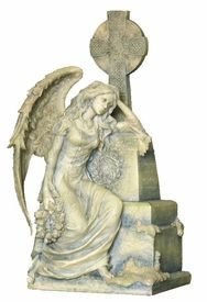Gothic Weeping Angel Sitting and Leaning on a Grave Fantasy Sculpture