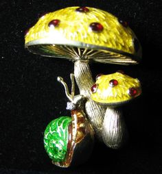 Martine 14K Solid Gold Enamel Diamond Ruby Whimsical Snail Mushrooms Pin Brooch | Jewelry & Watches, Fine Jewelry, Fine Pins & Brooches | eBay!
