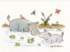 Hippo Nursery Art Print for Baby and Children- Hippo and Mama - 8X10 Archival…