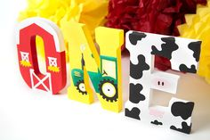 Listing is for the letters ONE. These adorable letters are the perfect addition to your little ones first birthday Barnyard or Farm themed party decorations, cake smash, prop, or photo shoot! Letters are hand painted with acrylic paints, wood and measure 7.75 inches in height ea.