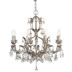 Brilliant glass beads embellish this elegant Bellina Chandelier ($399). This beautiful chandelier features cast iron leaves with a platinum finish.