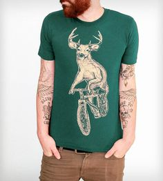 Deer on a Bicycle T-Shirt   Men's T-Shirts   Dark Cycle Clothing   Scoutmob Shoppe   Product Detail