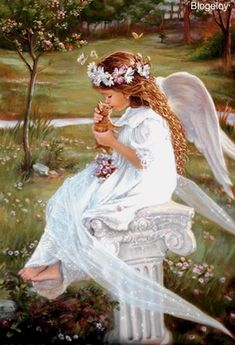 Young girl angel and kitten sitting on a outdor bench in heaven. I Believe In Angels, Angel Pictures, Beautiful Angels Pictures, Angels Among Us, Angels In Heaven, Heavenly Angels, Guardian Angels, Angel Art, Faeries