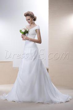 $114.29 Dresswe.comサプライ品エレガントなAラインウェディングドレス オフショルダー ボタンノースリーブ 床長