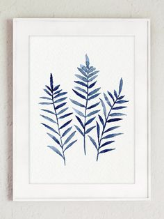 Affiche bleu marine feuilles de fougère abstraite minimaliste