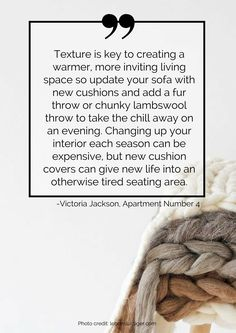 Texture is key to creating a warmer, more inviting living space so update your sofa with new cushions and add a fur throw or chunky lambswool throw to take the chill away on an evening. Changing up your interior each season can be expensive, but new cushion covers can give new life into an otherwise tired seating area. Read more tips for transitioning your home from summer to autumn here: https://nyde.co.uk/blog/transition-home-summer-autumn/