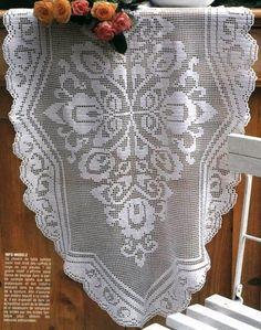 Table Runner Filet Crochet - Pattern: http://www.pinterest.com/pin/374291419005261535/