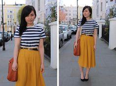 Topman Navy Striped Tee, River Island Mustard Midi Skirt, Prada Burnt Orange Shopper