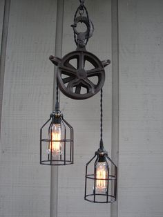 Vintage Industrial Pulley Lighting Pendant with Bulb Cages