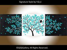 """Romántica de la pintura abstracta pintura paisaje pintura Impasto pintura paleta cuchillo amor aves pintar árbol de pintura """"La vida es bella"""""""