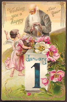 New Year Father Time and Angel 1908 Vintage Postcard - Wishing you a happy New Year January 1