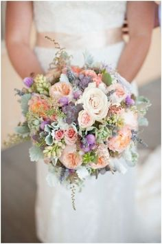 Peach, Cream, Lavender and Succulent Wedding Bouquet // Two Buds and a Blossom // Sarah Hays Photography. ♥ How about this bouquet Claire? Would tie in with the pastel theme and you would swap some out for more wild flowers? Bouquet En Cascade, Pastel Bouquet, Bride Bouquets, Bridesmaid Bouquet, Floral Bouquets, Parfum Flower, Summer Wedding, Dream Wedding, Bouquet Champetre