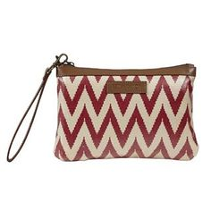 Antebellum Canvas Wristlet Pouch - New for Spring 2015 - Coated Canvas! The Antebellum collection a fun twist on Americana with a tribal style chevron. Carry more than just cards, cash and coins with the Wristlet Pouch. It is roomy enough for lipstick, large cellphones, keys and more. Inside features 1 zip pocket, 8 credit card slots and 1 cash slot. It has one wrist strap that is 12x.375