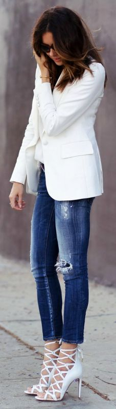 Erica Hoida pairs distressed skinny jeans with a white blazer and matching gladiator heels for the best out and about look!  Blazer: Banana Republic, Camisole: Zara, Jeans: Dsquared2, Shoes: Aquazzura, Handbag: Proenza Schouler