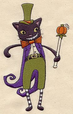 Black Cat King Embroidered Flour Sack by EmbroideryEverywhere, $13.99