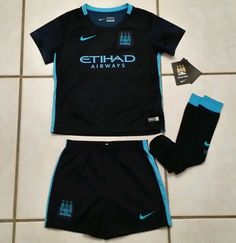 NWT Authentic NIKE Manchester City 2015 Away Soccer Kit Boys  Small  #Nike #ManchesterCity