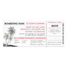 tropical boarding pass wedding tickets with RSVP
