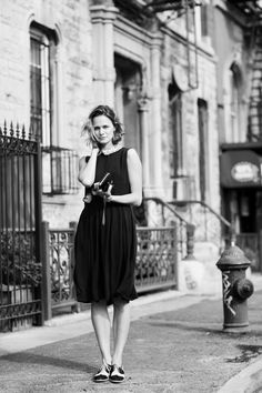Knee length dress, peter pan collar, delicate oxford shoes. Photo by The Sartorialist.