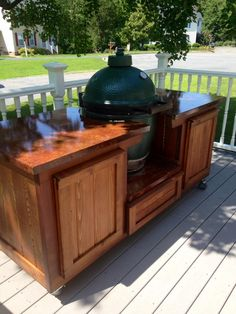 Tennessee Big Green Egg table. Contact us today so that we can build you one! www.PoshPatios.com