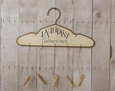 """""""Laundry Gathers Here"""" Hanger Sign"""