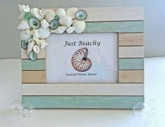 Your place to buy and sell all things handmade Seashell Frame, Seashell Art, Seashell Crafts, Beach Crafts, Beach Wedding Gifts, Beachy Colors, Seashell Projects, Shell Decorations, Beach House Decor
