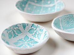 How To: Make Easy Stamped Clay Bowls More Clay Projects, Air Dry Clay, Diy Stamps, Crafts Ideas, Stamps Bowls, Clay Bowls, Clay Stamps, Gathering Beautiful, Stamps Clay DIY Clay Stamped Bowls - Wedding Ring Dishes PHOTO SOURCE • GATHERING BEAUTY 6 Diy air dry clay projects, including stamped bowls from gathering beauty Gathering Beauty: Diy Stamped Clay Bowls. Diy Stamped Clay Bowls with links to other stamped air dry clay projects. So pretty!! Create - Fun Arts  Crafts Ideas and Creative…