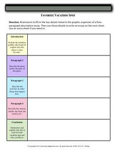worksheet linking words write a sentence using each linking  worksheet favorite vacation spot brainstorm to fill in the key details listed in the graphic organizer of a five paragraph descriptive essay