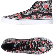 Vans High-tops & Trainers ($58) ❤ liked on Polyvore featuring shoes, sneakers, vans, black, black trainers, vans sneakers, vans shoes, black shoes and floral sneakers