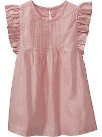 Old Navy Metallic-Stripe Flutter-Sleeve Dresses for Baby