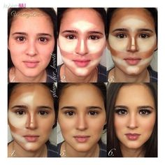 First you will need foundation , dark/ bronze crema powder , light beige / white cream powder and a brush to mix them.Apply a good foundtaion on your face and neck. Then apply the white/ beige cream powder on your forehead , nose, chin and chek bones.Next step is applying the dark cream powder in the rest of your face . Mix them all toghether in circular motions .