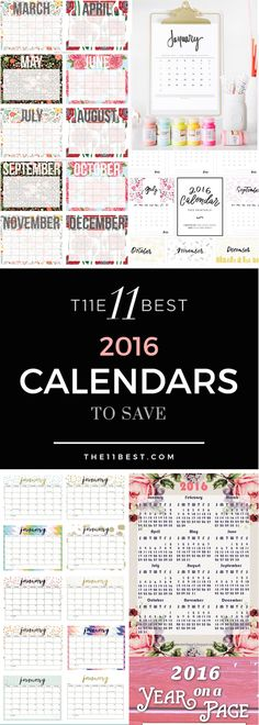 The 11 Best Free 2016 Calendars to print and save!